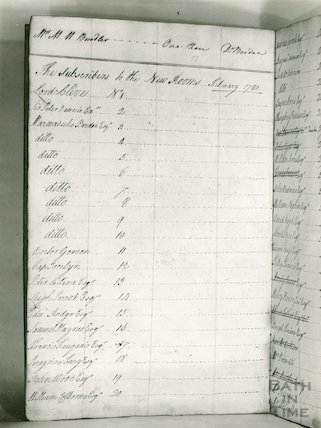 Assembly Rooms - records of pages from list of subscribers for February 1780
