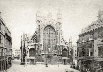 Abbey Churchyard, east side and main door, c.1890