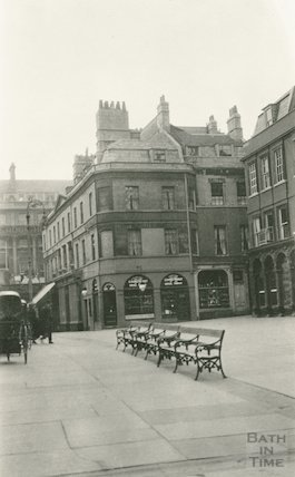 Abbey Churchyard - shops on West side and Grand Pump Room Hotel, c.1920s