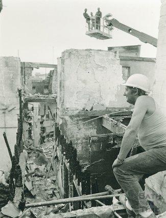 Bath Street demolition after fire,1986