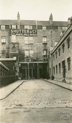 Bimbury Lane - archway leading to Bath Street with St Catherine's Hospital on the right, c.1915