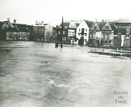 Broad Quay in flood, 1937