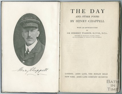 Title page to The Day and other Poems by Henry Chappell including portrait,  1918