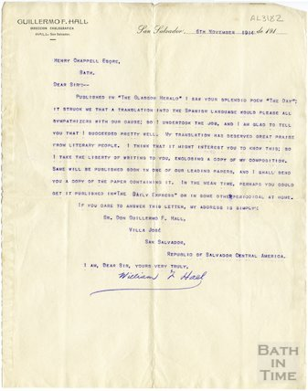 Xerox copy of letter from William Hall to Henry Chappell, 6 Nov 1914