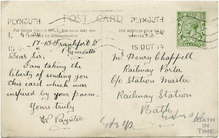 Postcard addressed to Henry Chappell at Bath Spa Station, 15 Oct 1914