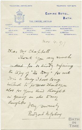 Autograph letter from Rudyard Kipling to Henry Chappell, March 4 1917