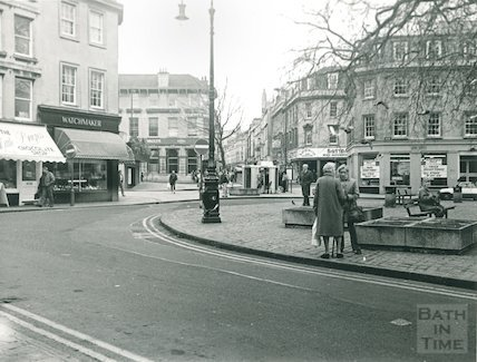 Westgate Street on the corner of Kingsmead Square, 1986