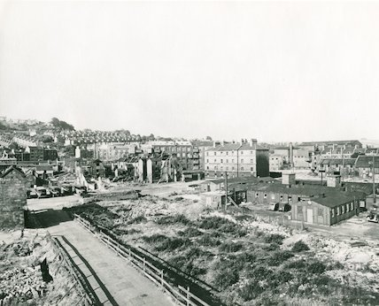 Avon Street after clearance, showing St Johns Buildings and site of Technical College, c.1950s