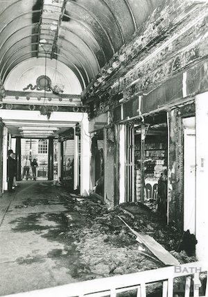 Corridor - fire in JCR Newsagents Shop, 30th October 1989