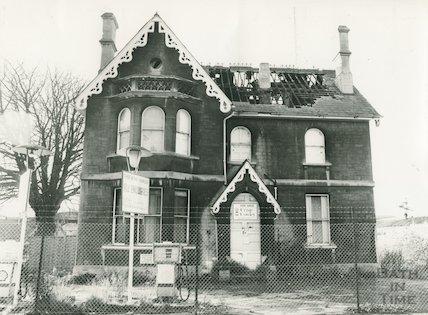 Derelict Victorian gothic villa on Upper Bristol Road, March 1981