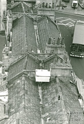 Newmarket Row, rooftops from the Empire Hotel, c.1970s