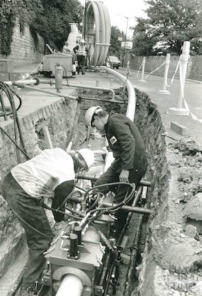 Installation of gas pipe line on Bathwick Hill (supply to fee Bath University), September 1988