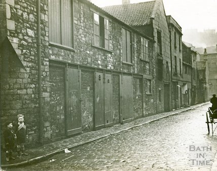 Two children on the pavement at Little Corn Street, Bath, c,1930s