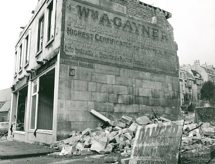 Demolition of William A. Gaynor and Son, Julian Road February 1973.