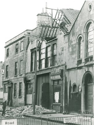 Demolition of the Georgian Riding School in Julian Road, October 1973