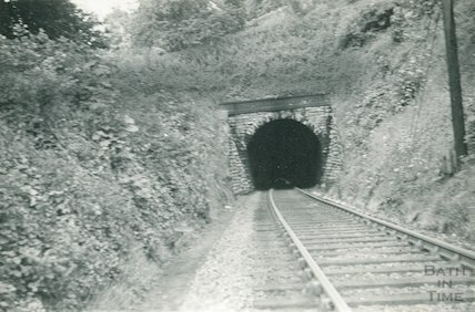 Looking into the Devonshire tunnel from Lyncombe Vale, c.1960