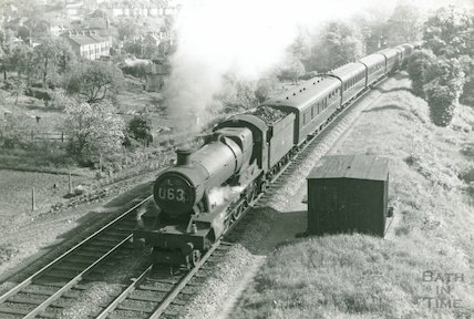 G.W.R. Hall train approaching Sydney Gardens tunnel east of Bath Spa Station, c.1960s