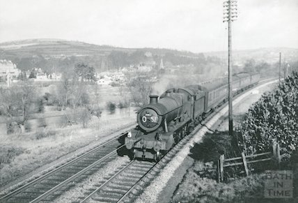 Modified Hall class No.7917 North Aston approaching Bath, c.1960s