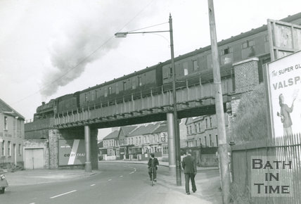 B.R. Class 5 Somerset & Dorset train crosses the Red Bridge over the Lower Bristol Road, 25 May 1961
