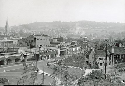 The Wells Road redevelopment with Bath Spa Station in the centre of the photograph, c.1960s