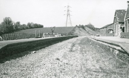 The derelict Bitton station looking towards Mangotsfield, 29 April 1973