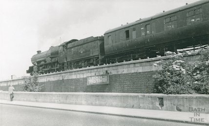 King Class leaving Bath Spa station along Wells Road, c.1960s