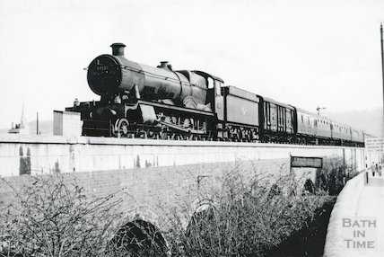 Hall Class No.5950 pulling out of Bath Spa Station with a westbound train, c.1960s