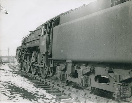Engine No.73001 backing down to the coal bay at Green Park sheds, 1964