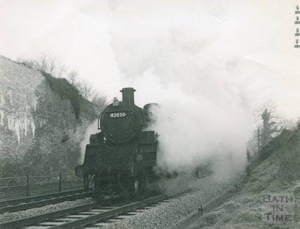 Engine No.82030 steaming up from Midford, February 1964