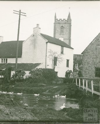 Feeding the ducks  at Nunney, c.1950s?