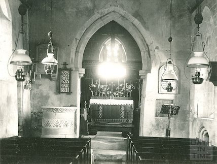 The interior of Ditteridge church, c.1920s