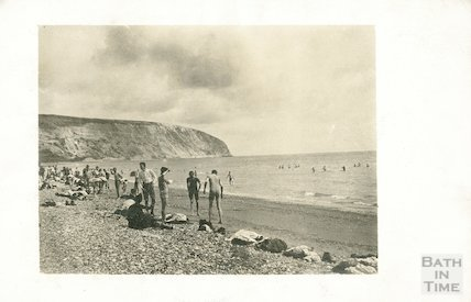 Seaside scene on Swanage beach, c.1920s