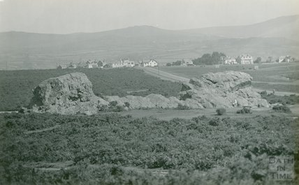 View of a distant unidentified village, possibly in Dartmoor, c.1920s