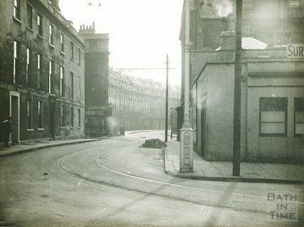 A tram turns the corner into Nile Street, c.1930s