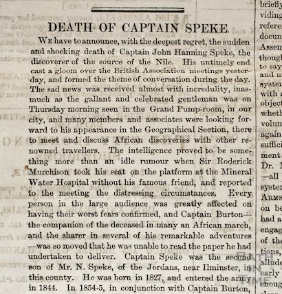 Death of Captain Speke, Bath Chronicle Special Daily Edition, Sat 17th September 1864