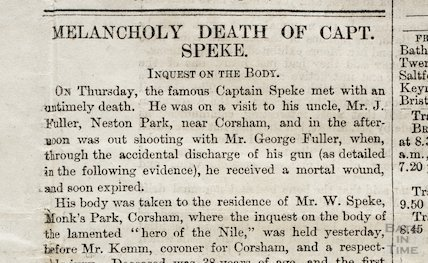 Inquest of Captain Speke, Bath Chronicle Special Daily Edition, Sat 17th September 1864