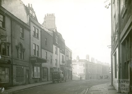 Corn Street from Southgate Street, entrance to the Ambury on left, 1932