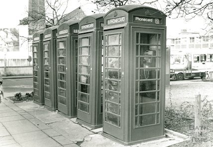Telephone boxes in Dorchester Street, March 1989