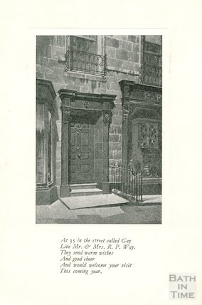 Gay Street, doorway No. 35. Mr & Mrs Reginald Philip Way personal card, c.1930s?