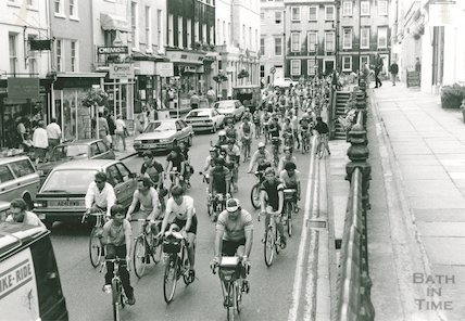 Charity cyclists on George Street, c.1986?