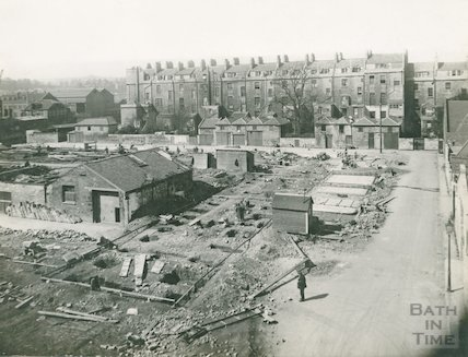 Rear of Green Park showing demolished buildings on Cat & Dog Lane, c.1930