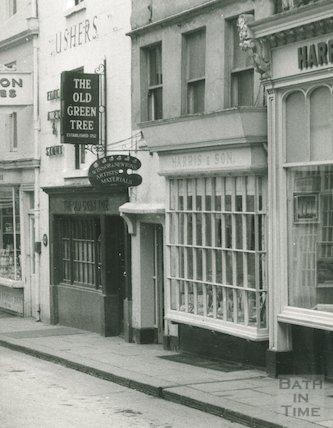 The Old Green Tree pub and Harris & sons, Green Street, Bath, c.1950s