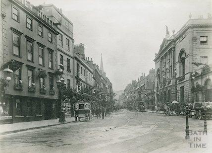 Bath High Street, view from the Abbey towards Northgate Street, c.1880