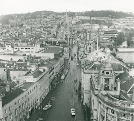 High Street, Bath, looking north from Bath Abbey tower, Jan 1972