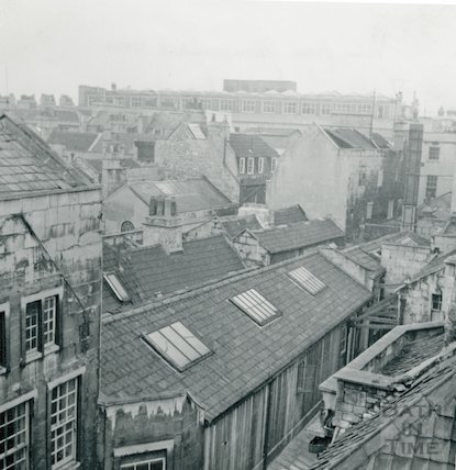 View from stone panelled room, 24 High Street (incl. part of 23 High Street.) March 1964