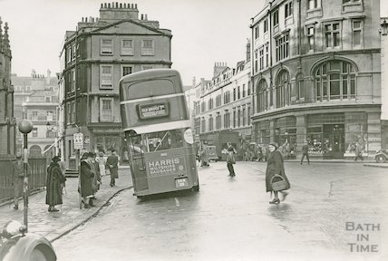 Bath High Street looking into Cheap Street. With Routmaster bus, c1940s?