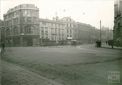 High Street West Side from Bath Abbey, c.1930
