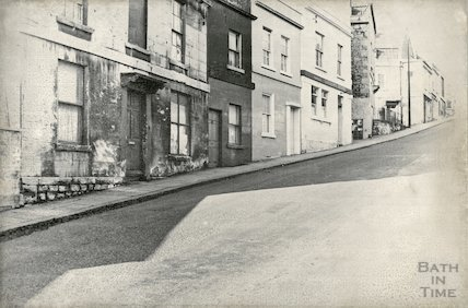 Lansdown Terrace, Bellevue Buildings, looking up Lansdown Road showing Lansdown Brewery, 1965