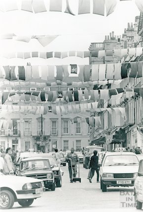 Milsom Street showing Festival Flags (Chinese silk), 1983
