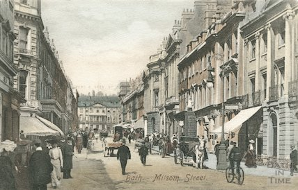 Tinted postcard view looking up Milsom Street, c.1900